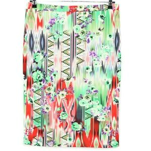 MOA Skirt 2XL Floral Stretch Green Purple Red